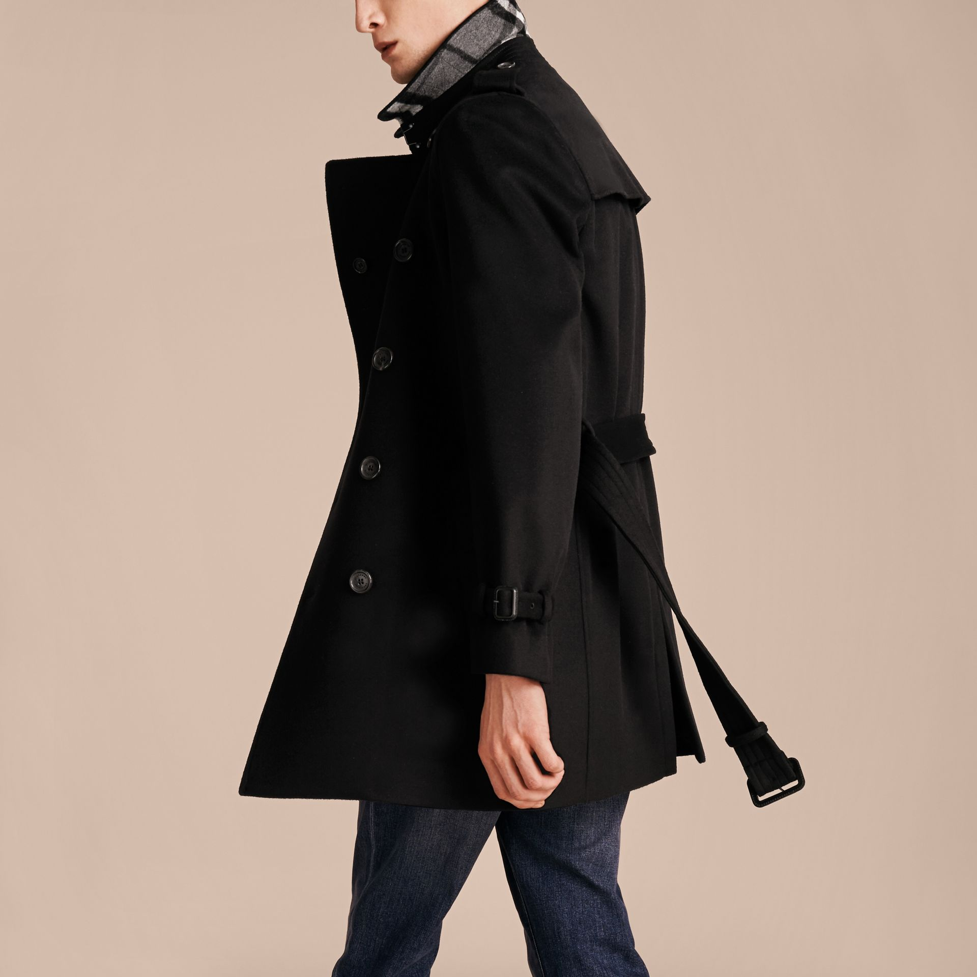 Black Wool Cashmere Trench Coat Black - gallery image 3