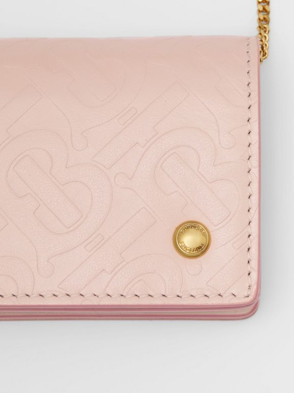 Monogram Leather Card Case with Detachable Strap in Rose Beige | Burberry - cell image 1