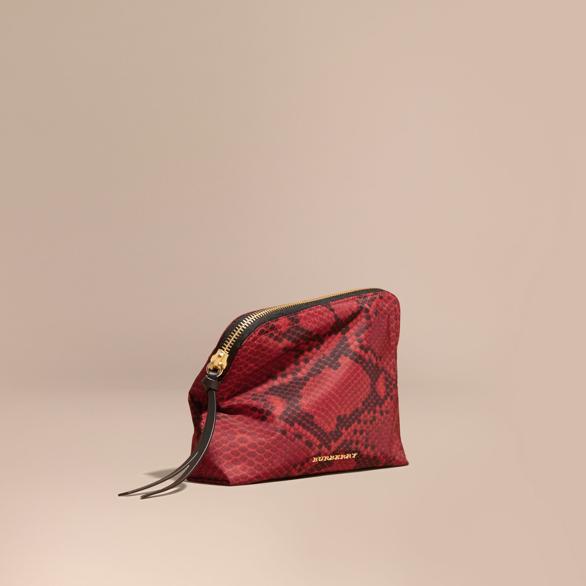 Burgundy red Large Zip-top Python-print Technical Nylon Pouch Burgundy Red - gallery image 1