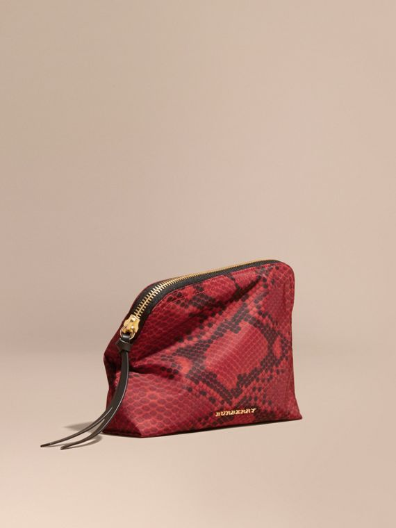 Large Zip-top Python-print Technical Nylon Pouch in Burgundy Red