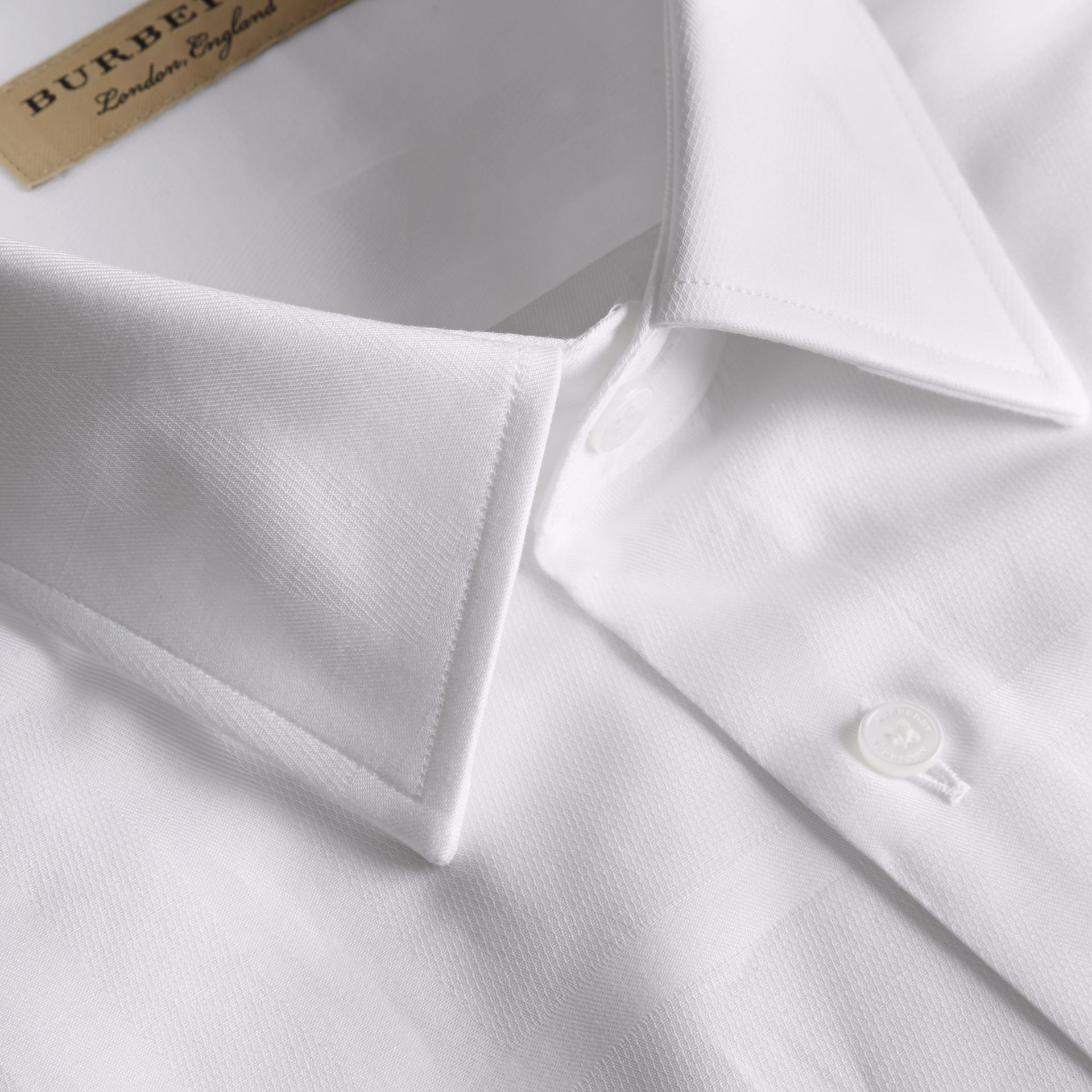 Modern Fit Check Cotton Poplin Shirt in White - gallery image 2