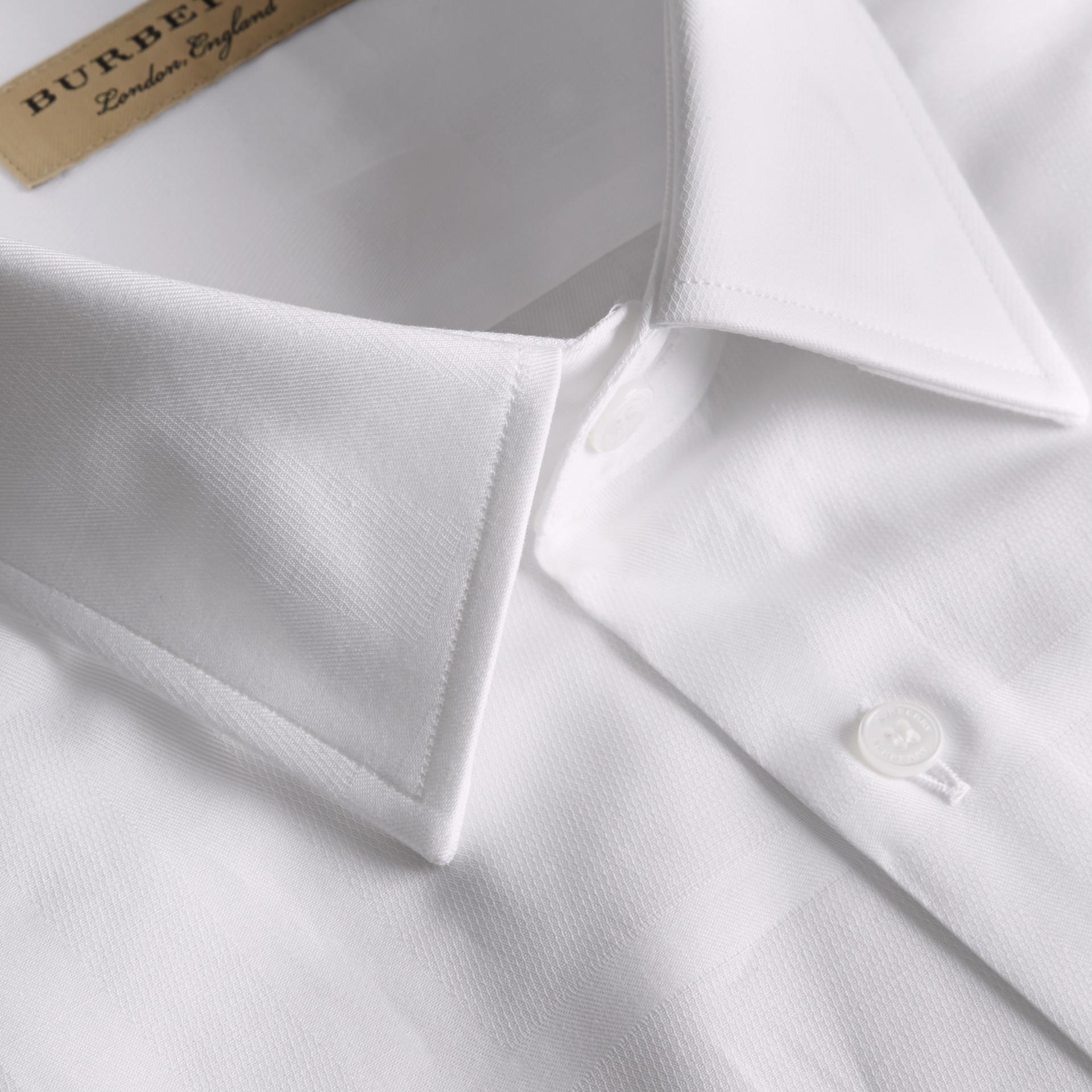 Modern Fit Check Cotton Poplin Shirt White - gallery image 2