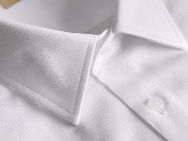 Modern Fit Check Cotton Poplin Shirt in White - cell image 1