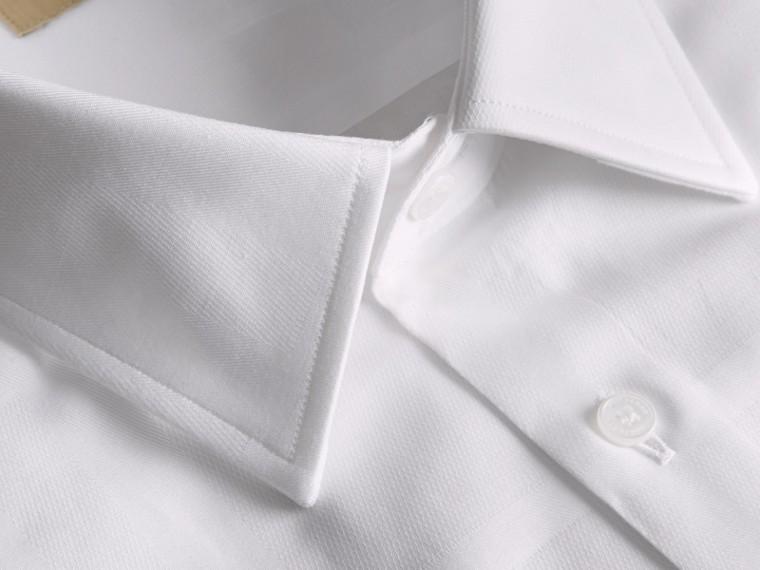 Modern Fit Check Cotton Poplin Shirt White - cell image 1