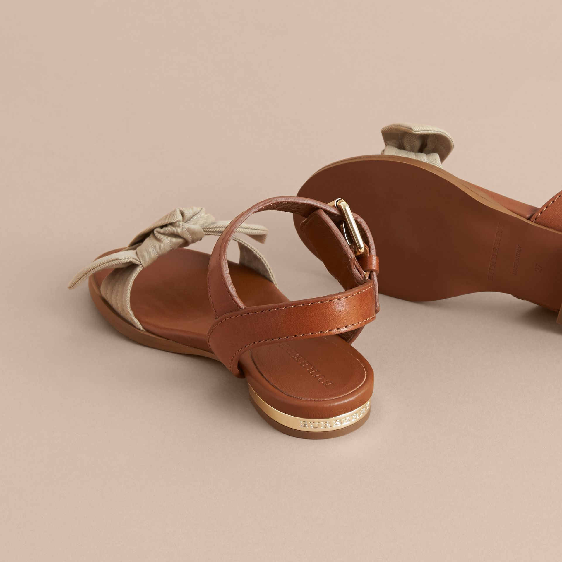 Cotton Bow and Leather Sandals in Honey | Burberry - gallery image 4