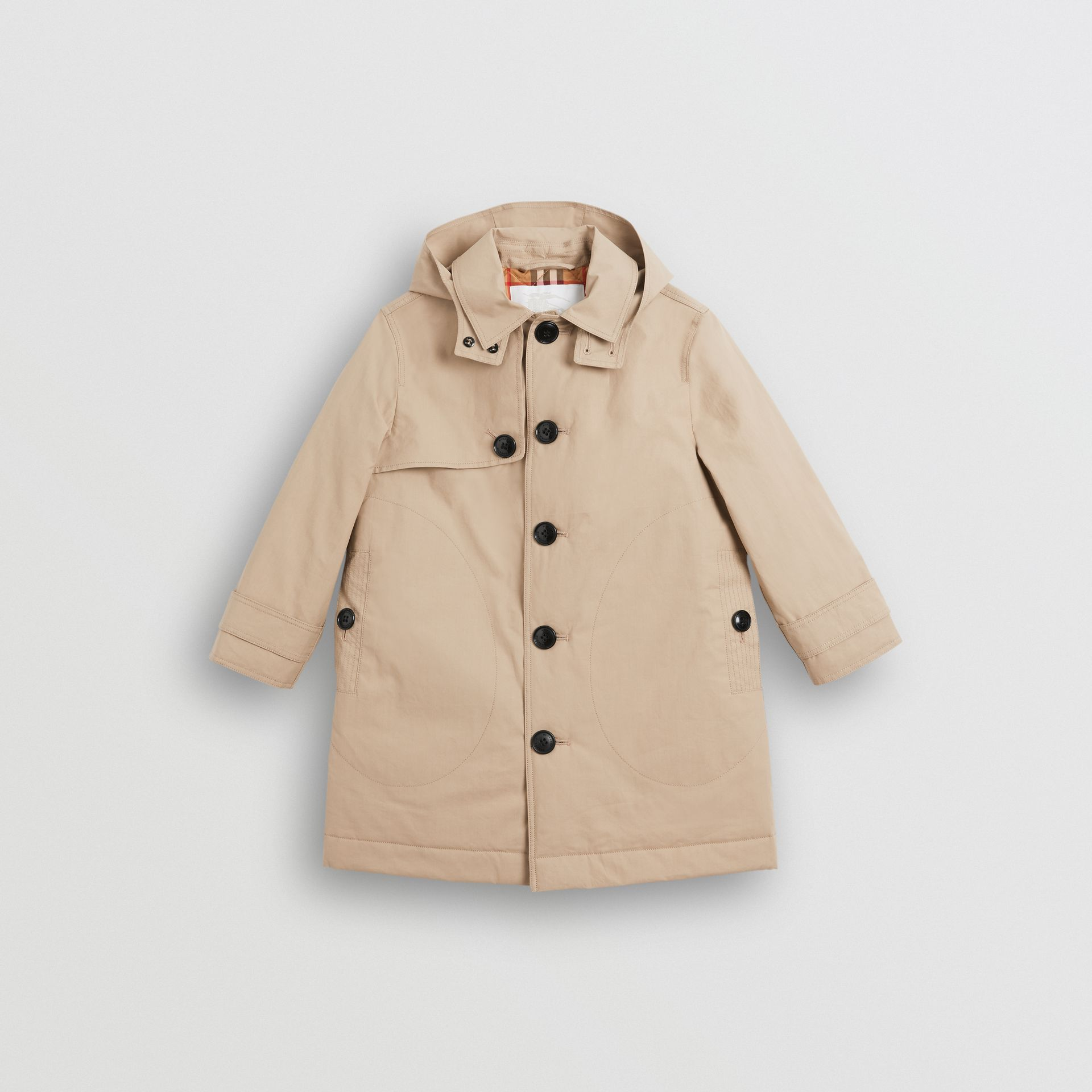 Detachable Hood Cotton Car Coat in Honey | Burberry - gallery image 0