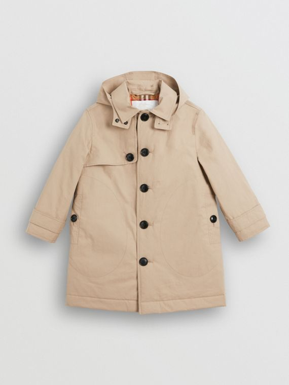 Detachable Hood Cotton Car Coat in Honey