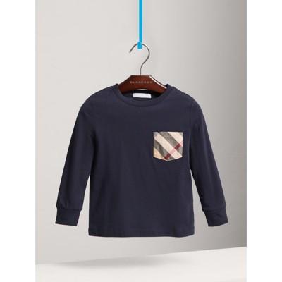 Burberry - T-shirt en coton à manches longues avec poche à motif check - 1