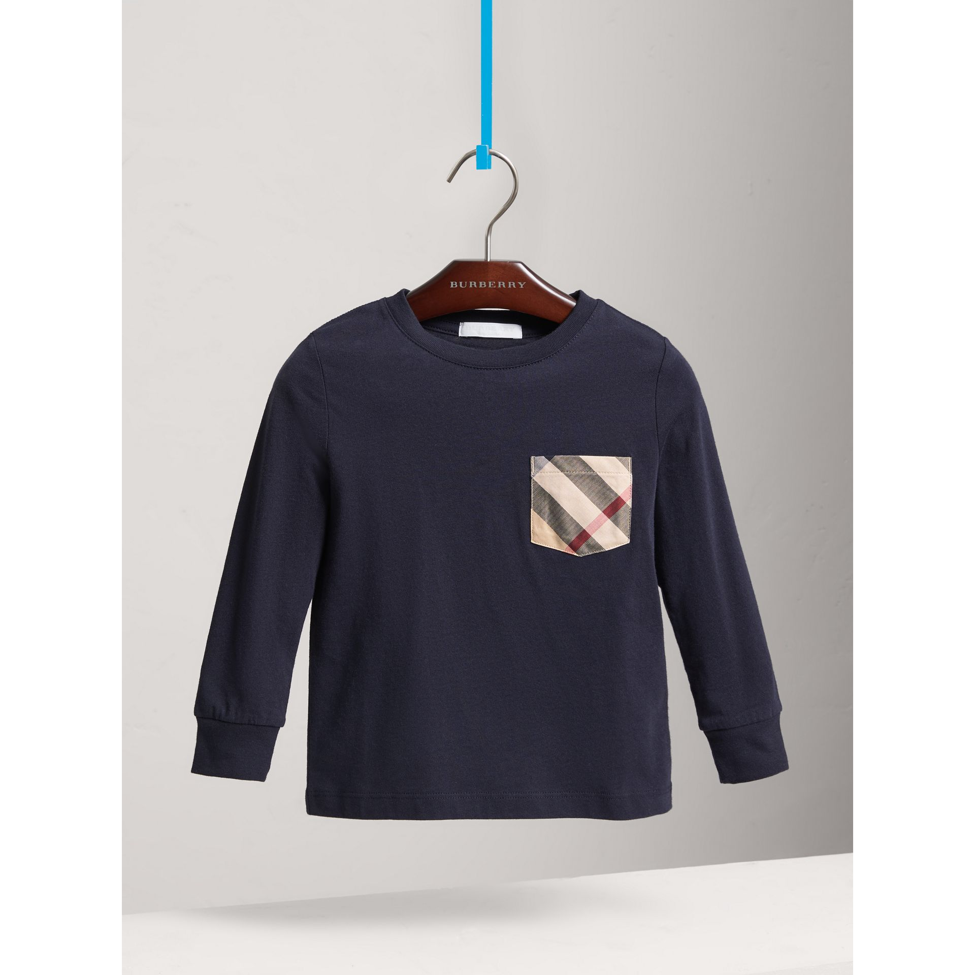 Long-sleeve Check Pocket Cotton T-shirt in True Navy - Boy | Burberry - gallery image 0