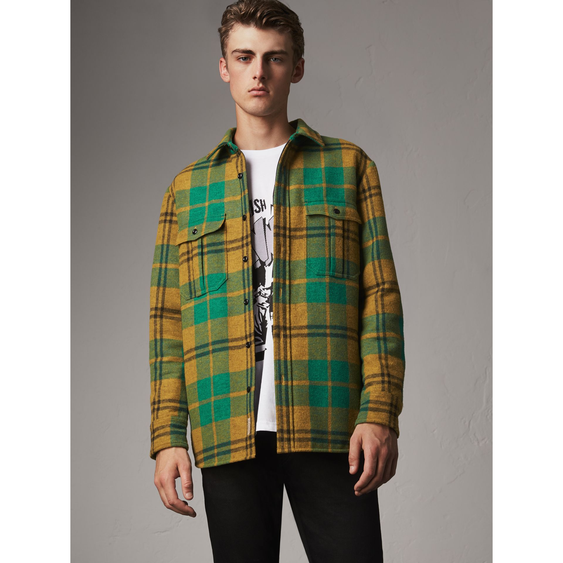 Quilt-lined Check Wool Cotton Blend Flannel Shirt in Amber Yellow - Men | Burberry - gallery image 6