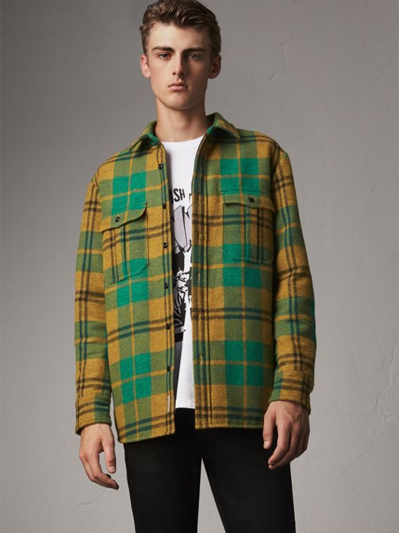 Quilt-lined Check Wool Cotton Blend Flannel Shirt in Amber Yellow