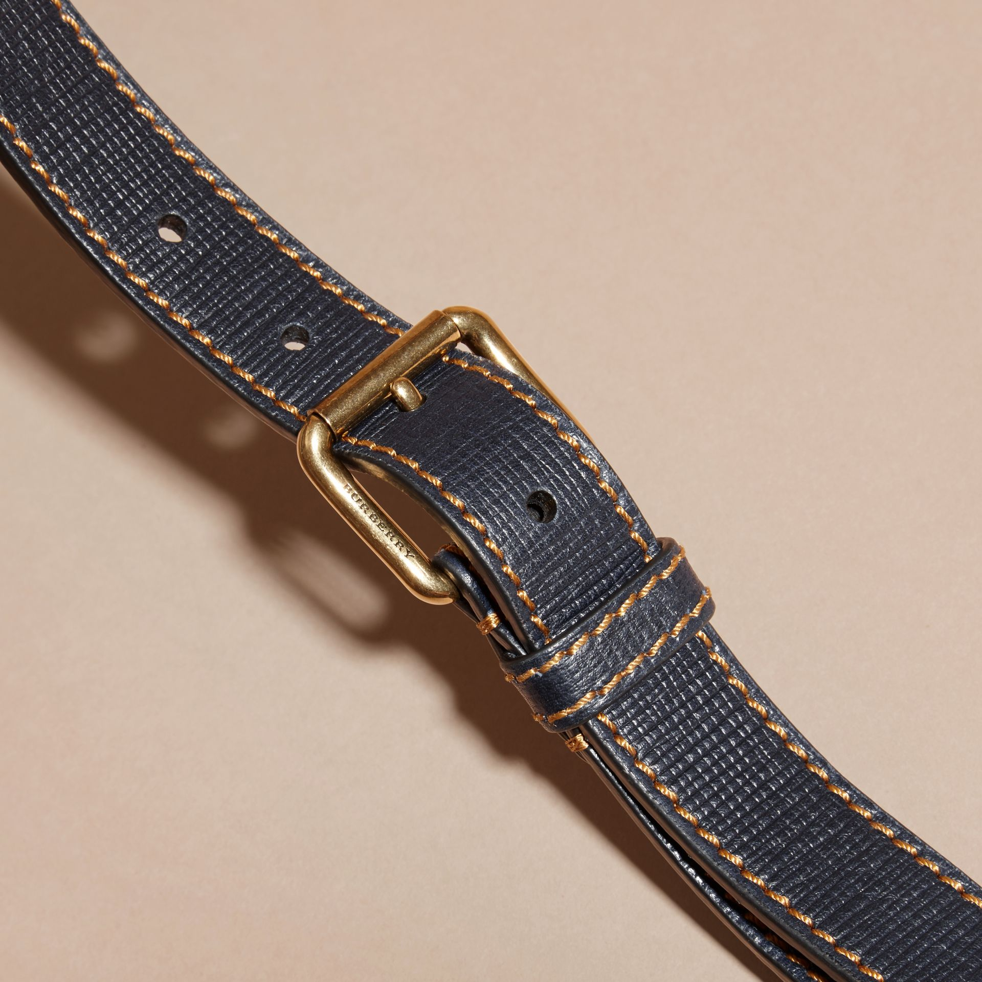 Dark navy Textured Leather Belt with Topstitch Detail Dark Navy - gallery image 2