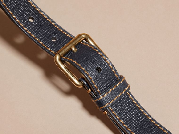 Dark navy Textured Leather Belt with Topstitch Detail Dark Navy - cell image 1