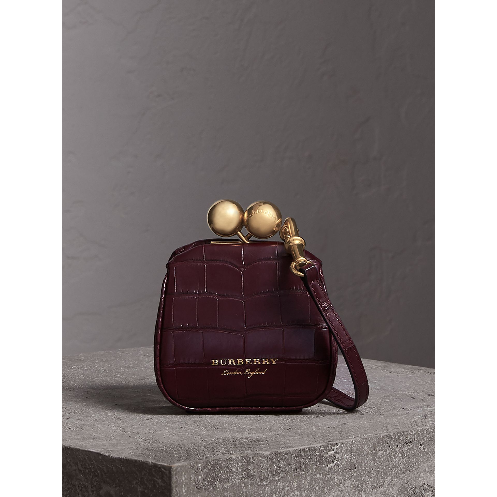 Mini Alligator Metal Frame Clutch Bag in Dark Claret - Women | Burberry United Kingdom - gallery image 0