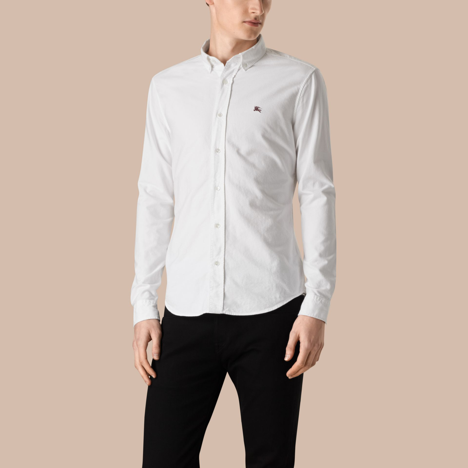 Cotton Oxford Shirt in White - Men | Burberry Singapore - gallery image 4