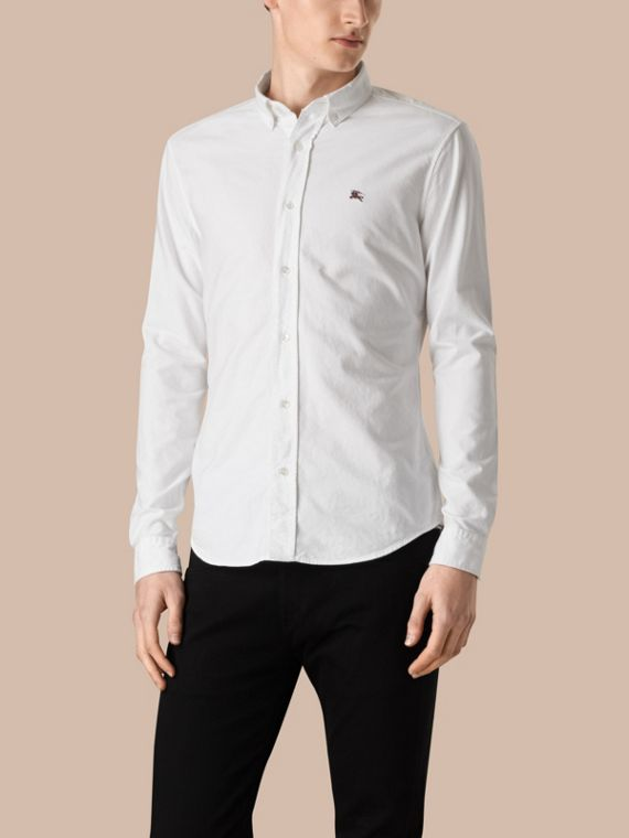 Cotton Oxford Shirt in White - Men | Burberry Singapore - cell image 3
