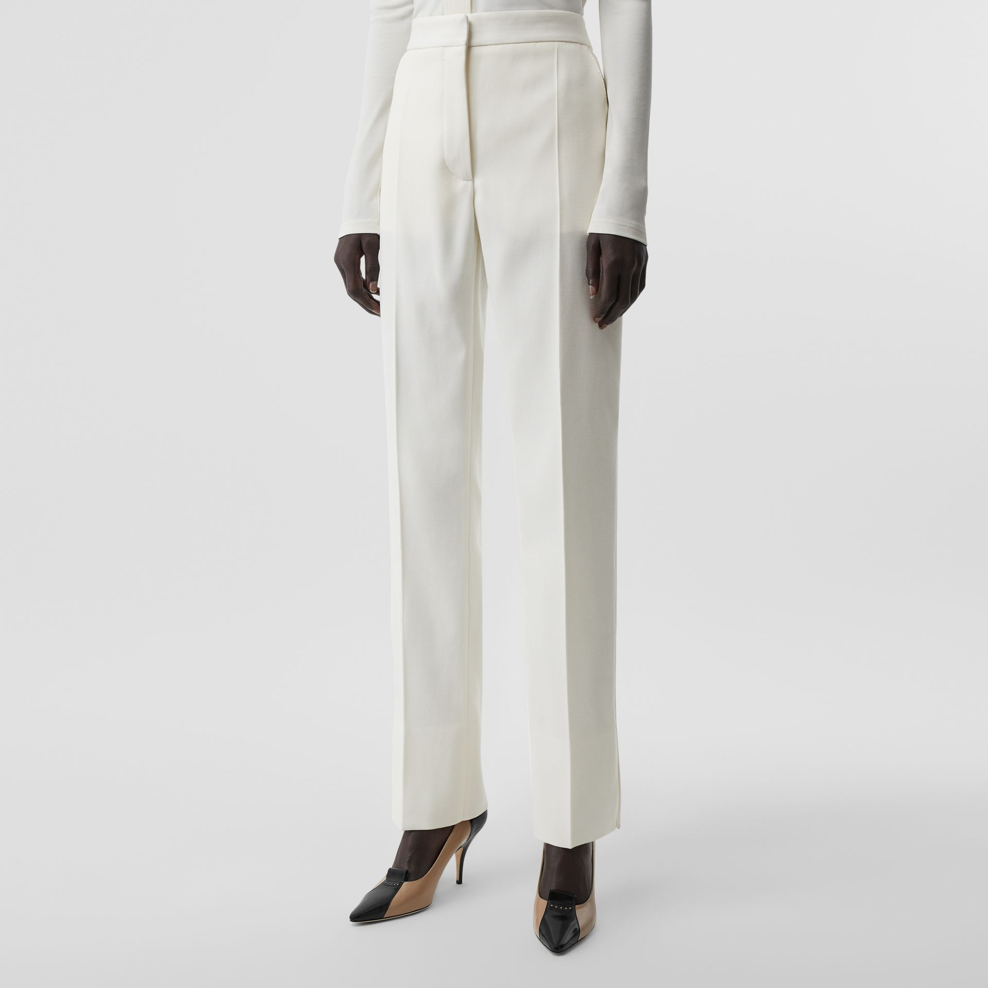 Satin Stripe Detail Wool Tailored Trousers in Natural White - Women | Burberry - gallery image 4