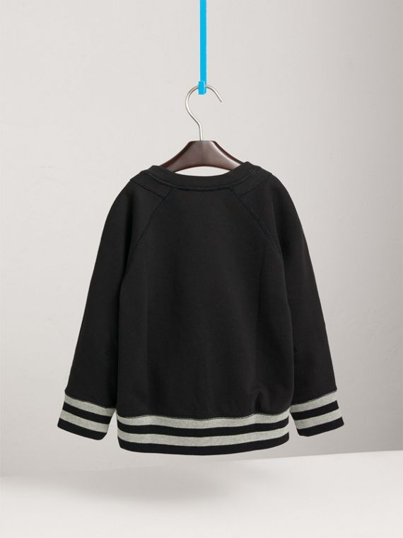Striped Hem Embroidered Cotton Jersey Sweatshirt in Black - Boy | Burberry Singapore - cell image 3