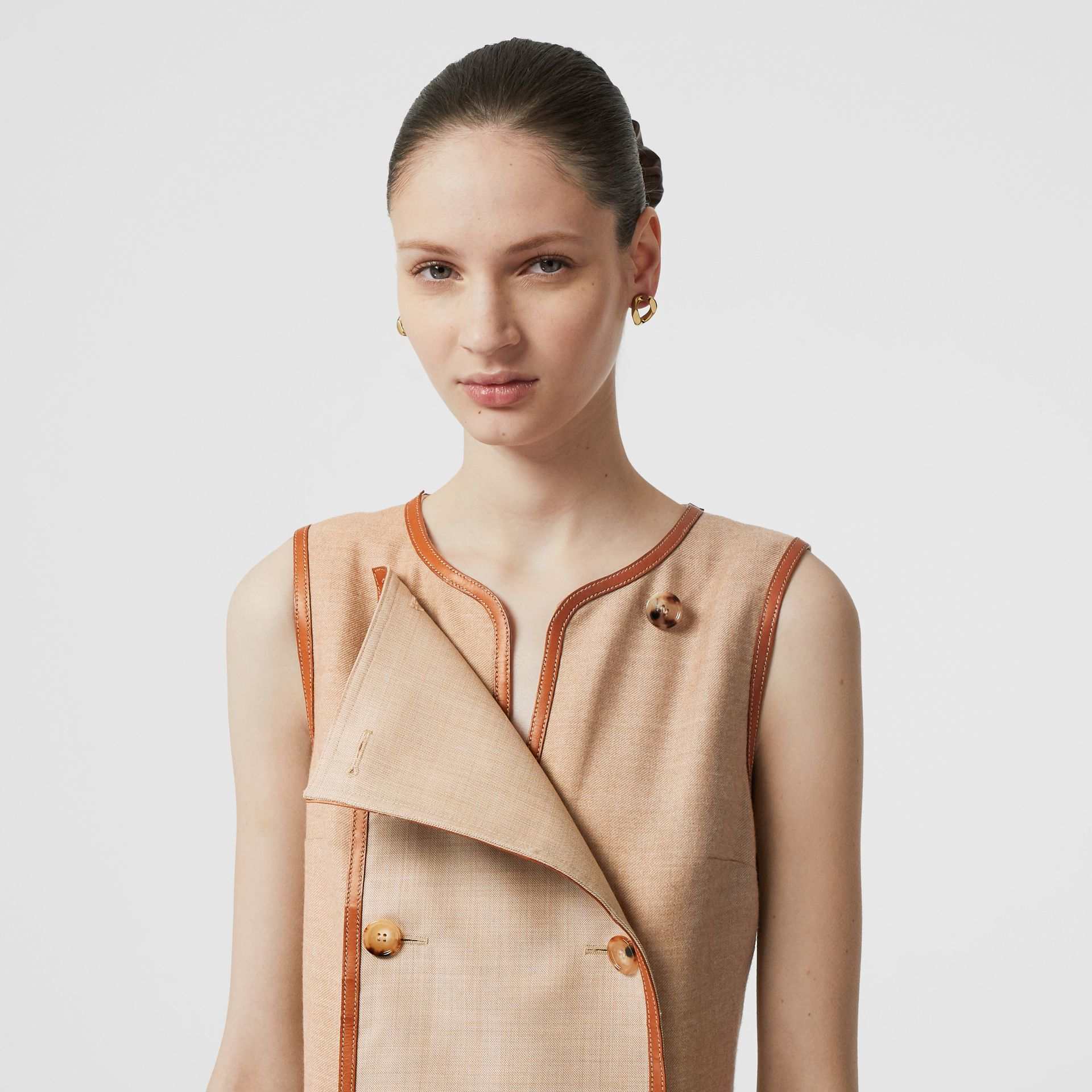 Button Panel Detail Wool Blend Shift Dress in Biscuit - Women | Burberry Singapore - gallery image 1