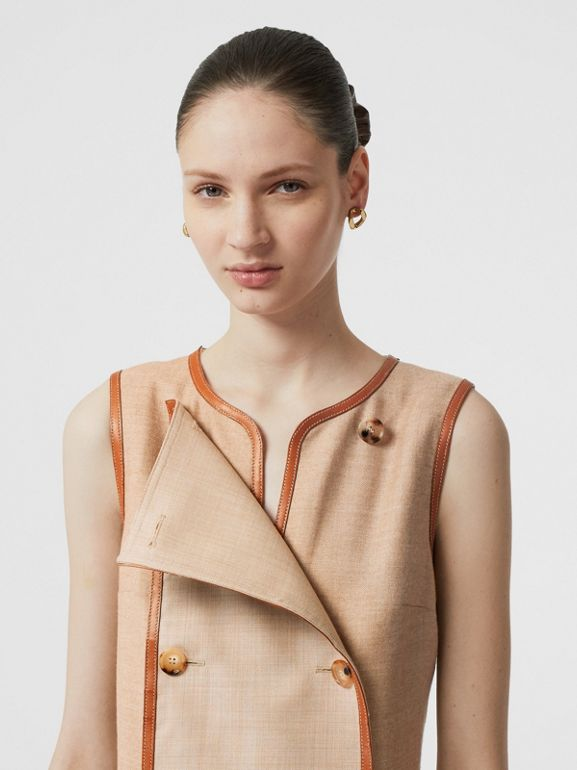 Button Panel Detail Wool Blend Shift Dress in Biscuit - Women | Burberry - cell image 1