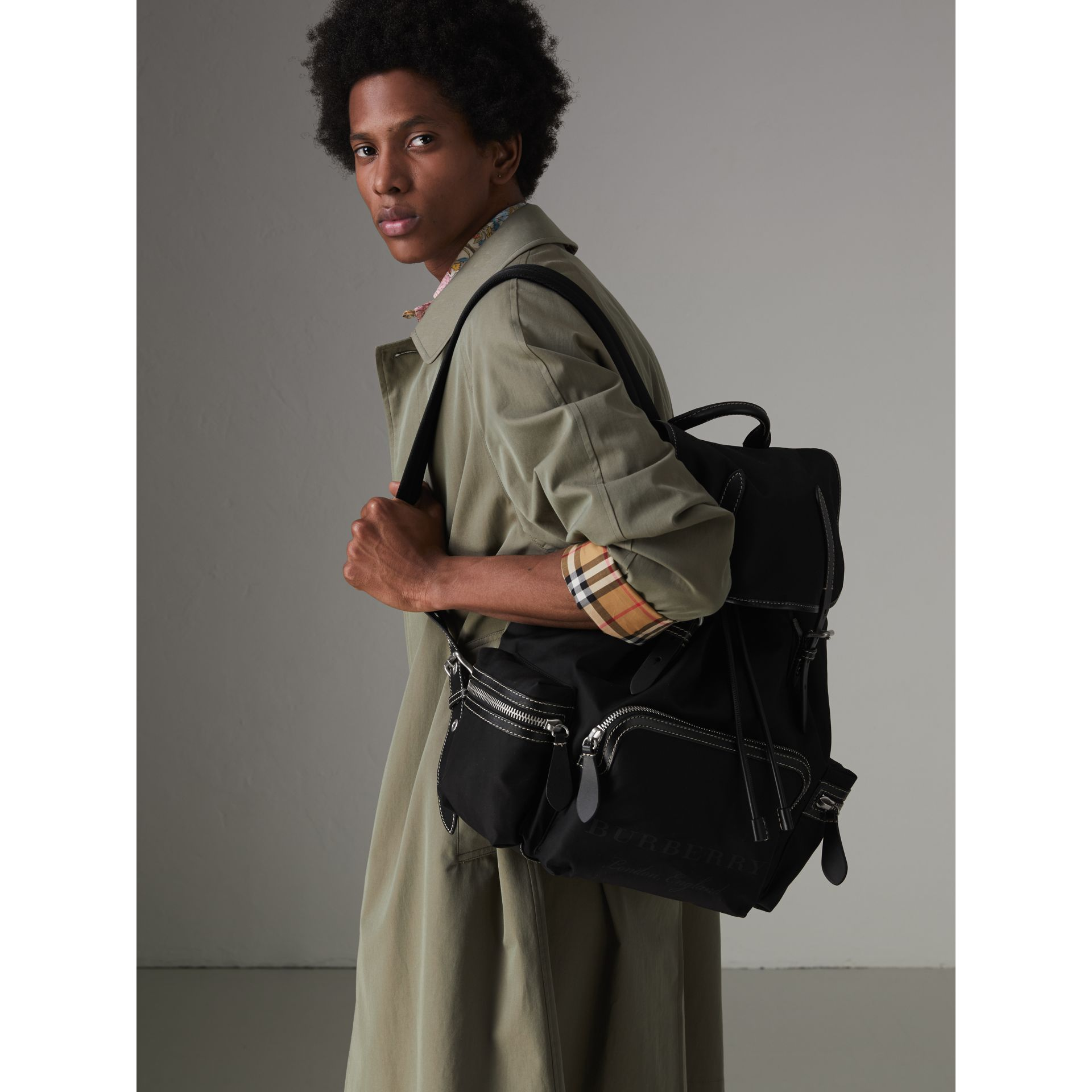 The Large Rucksack in Cotton Canvas in Black - Men | Burberry - gallery image 3