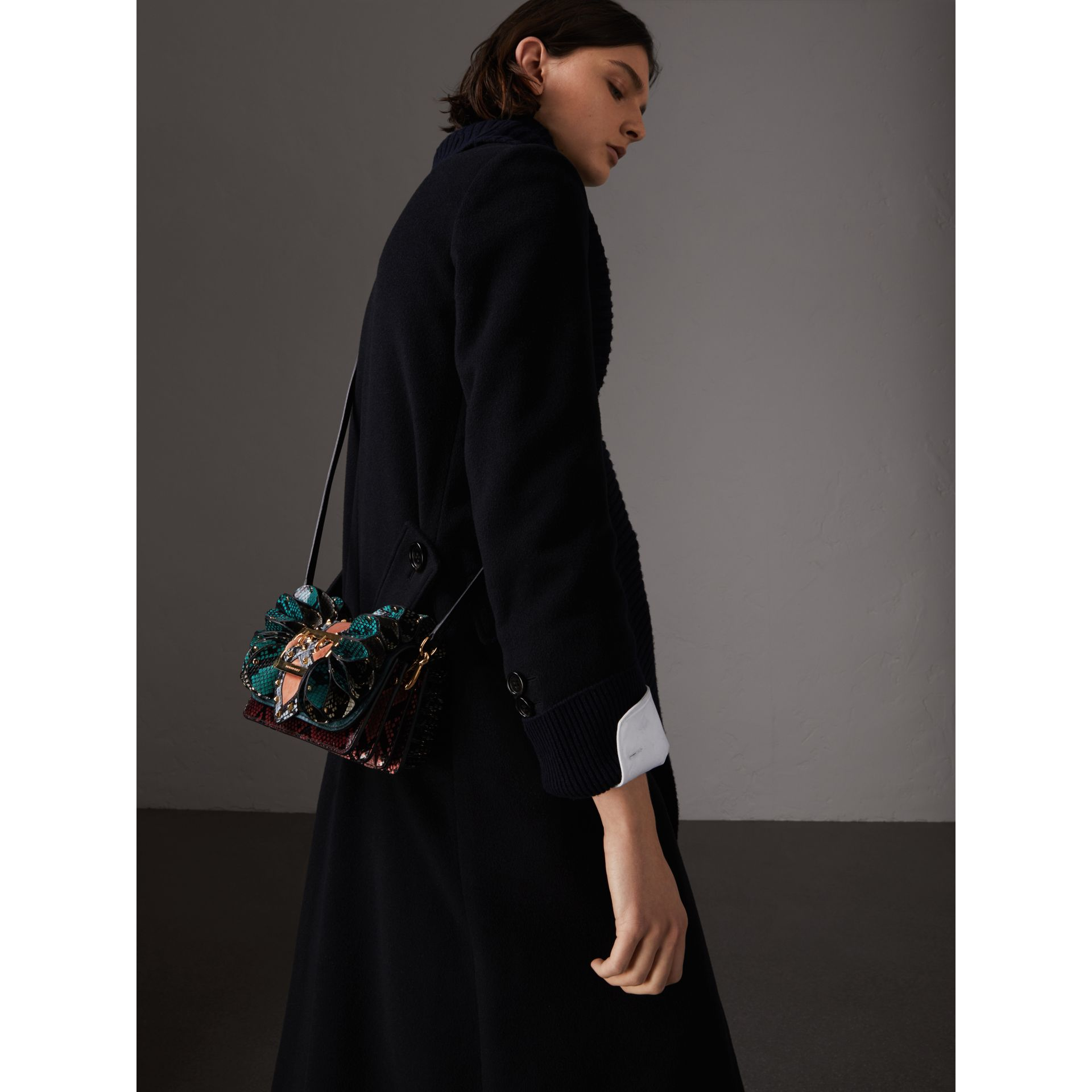 The Ruffle Buckle Bag in Snakeskin and Velvet in Teal - Women | Burberry United States - gallery image 7