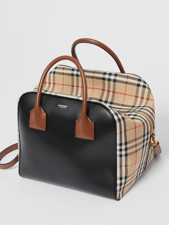 Medium Leather and Vintage Check Cube Bag in Archive Beige