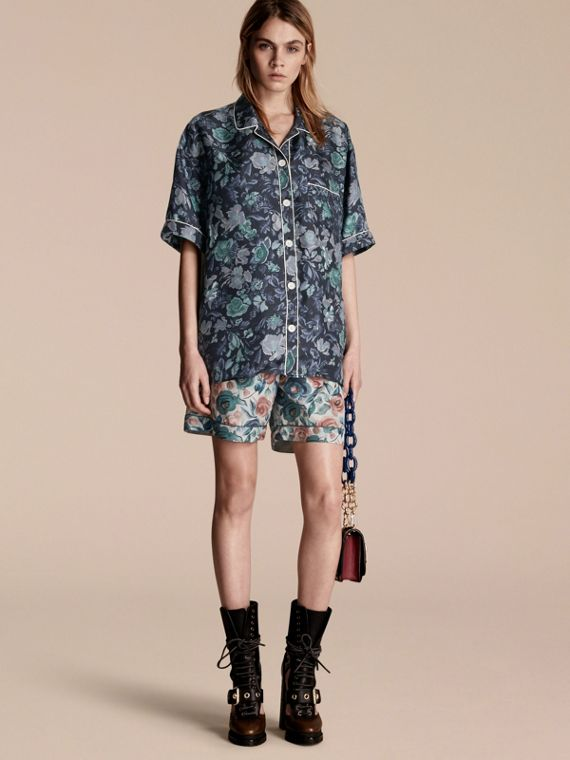 Short-sleeved Floral Print Silk Pyjama-style Shirt Navy