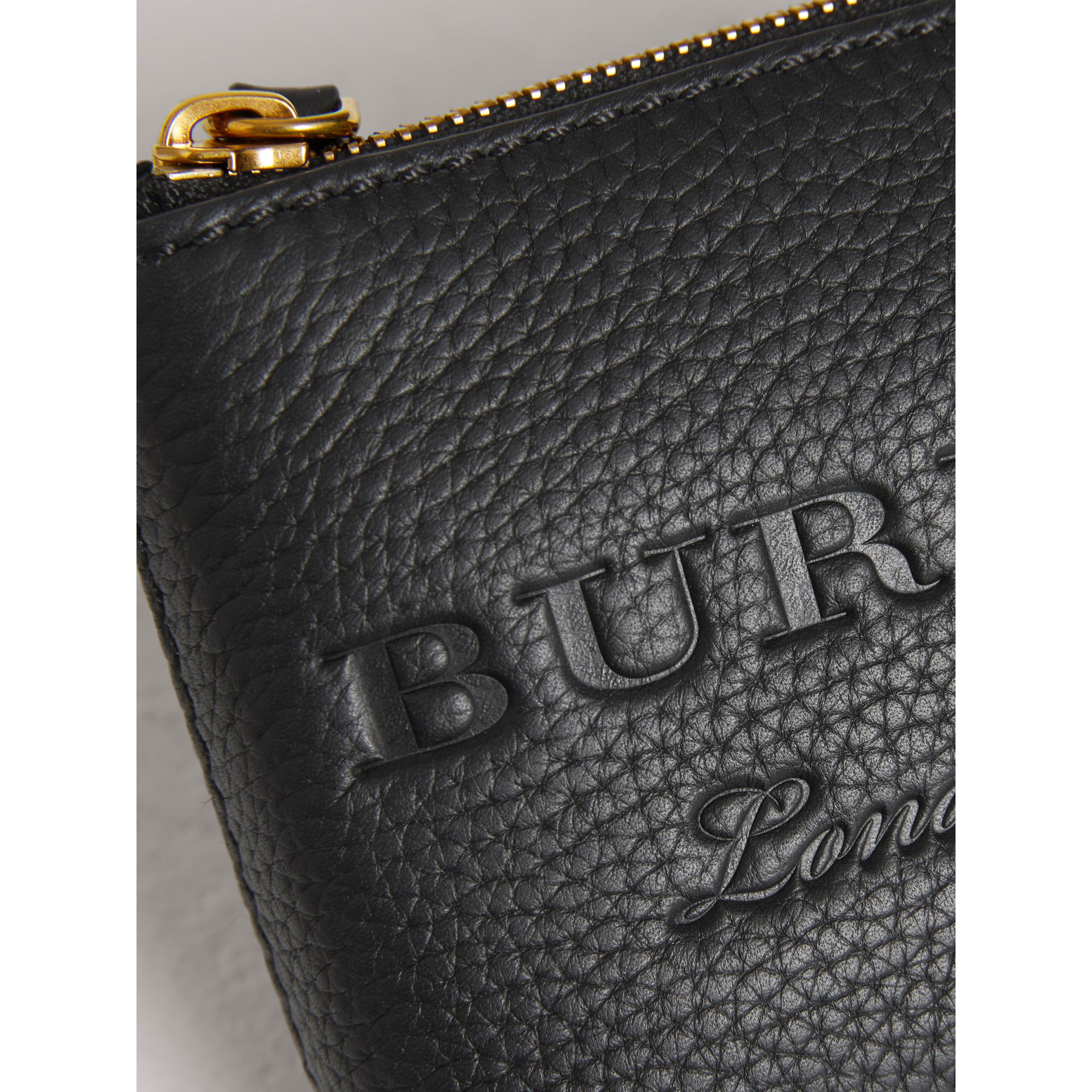 Small Embossed Leather Zip Pouch in Black | Burberry - gallery image 1