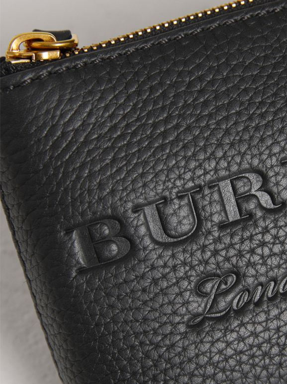Small Embossed Leather Zip Pouch in Black | Burberry - cell image 1