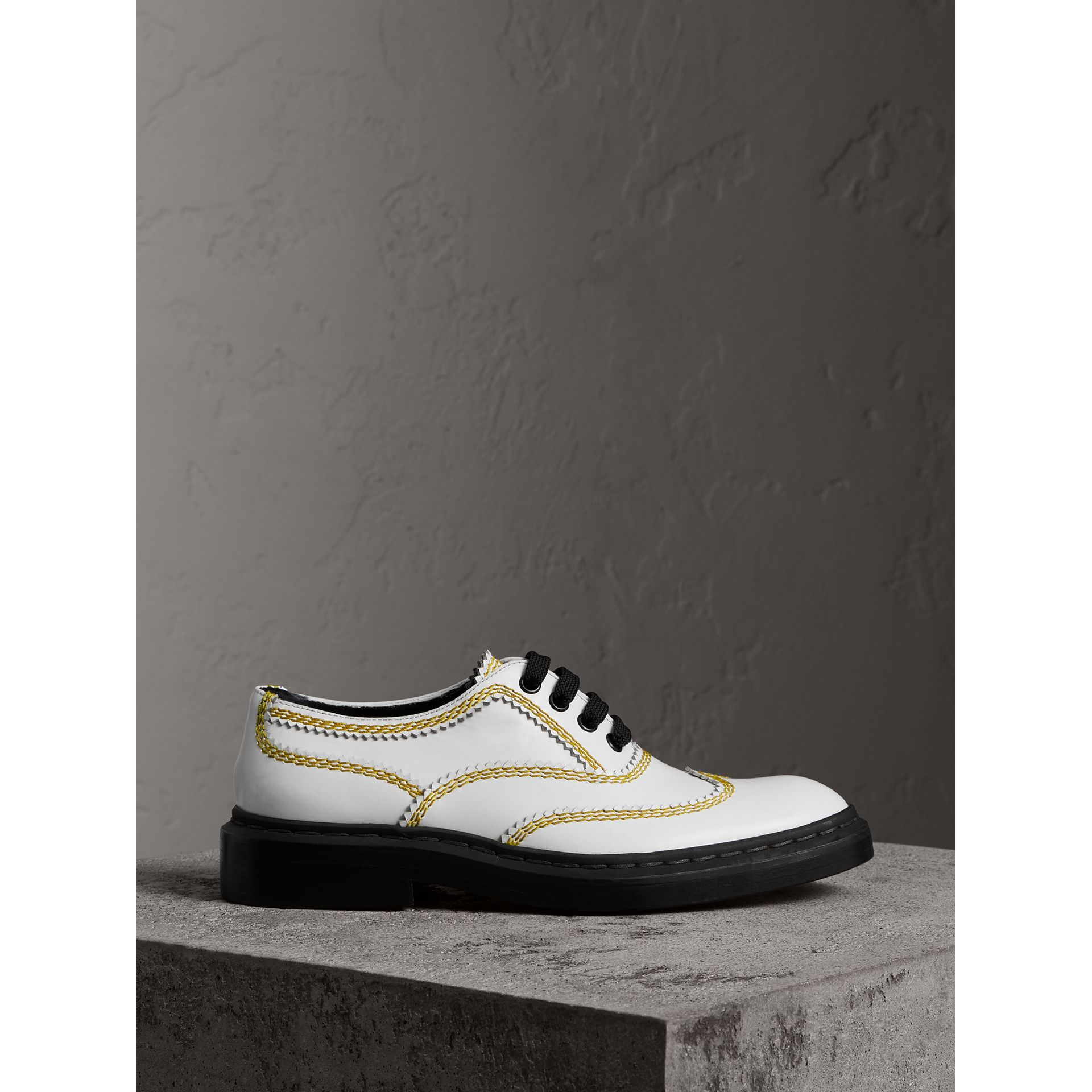 Topstitch Leather Lace-up Shoes in Optic White - Women | Burberry - gallery image 3