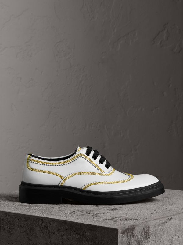 Topstitch Leather Lace-up Shoes in Optic White - Women | Burberry - cell image 3