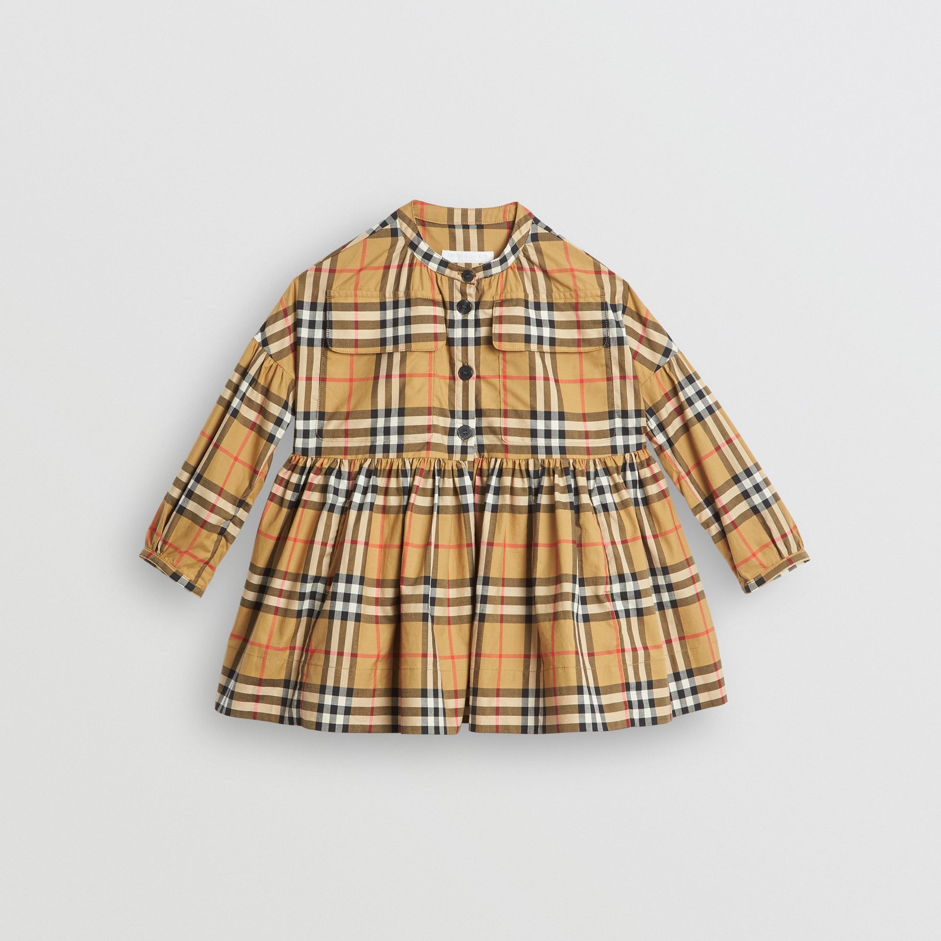 Gathered Sleeve Vintage Check Cotton Dress in Antique Yellow | Burberry - gallery image 0