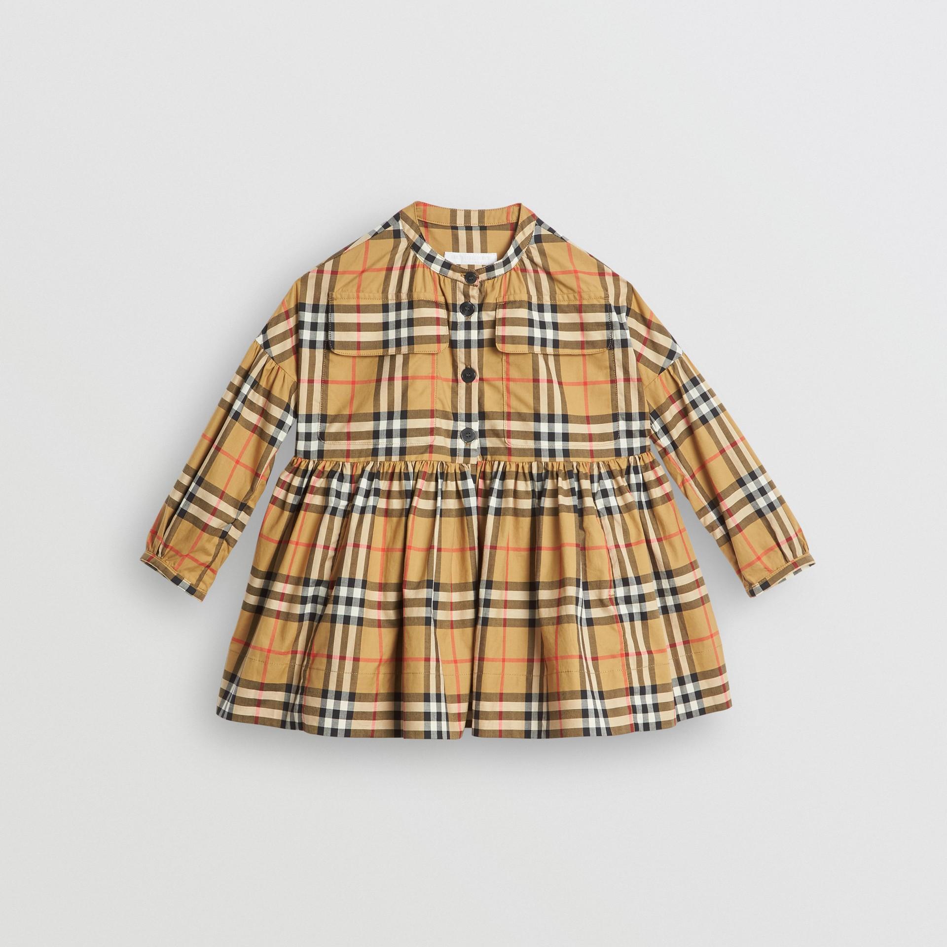 Vestido de algodão em Vintage Check com mangas franzidas (Amarelo Antigo) | Burberry - galeria de imagens 0