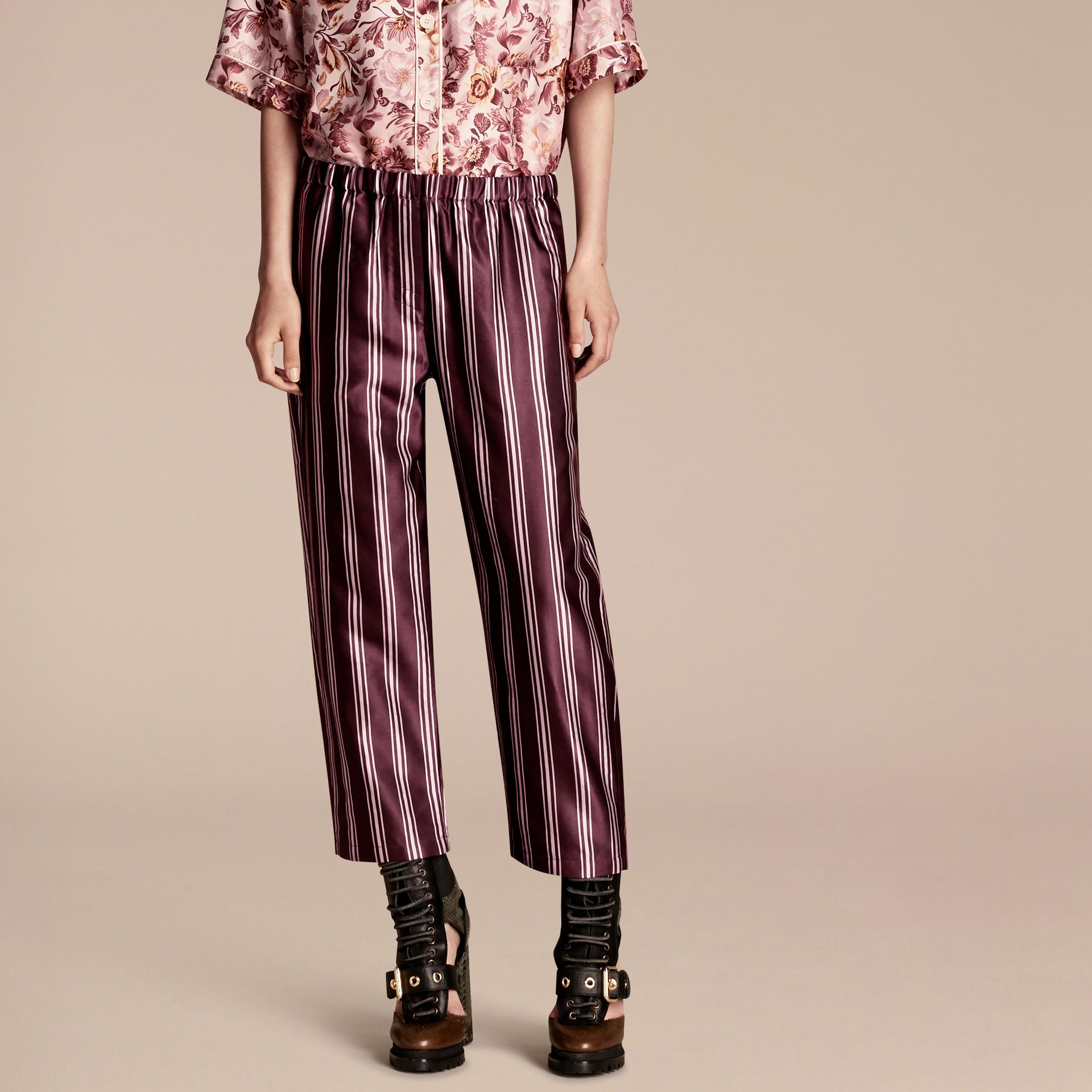 Crimson Panama Stripe Cropped Cotton Silk Satin Pyjama-style Trousers - gallery image 1