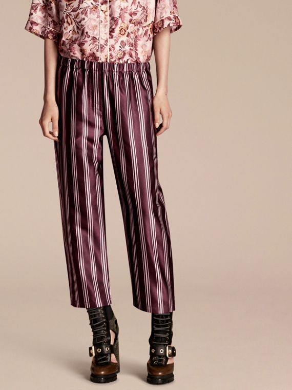 Panama Stripe Cropped Cotton Silk Satin Pyjama-style Trousers