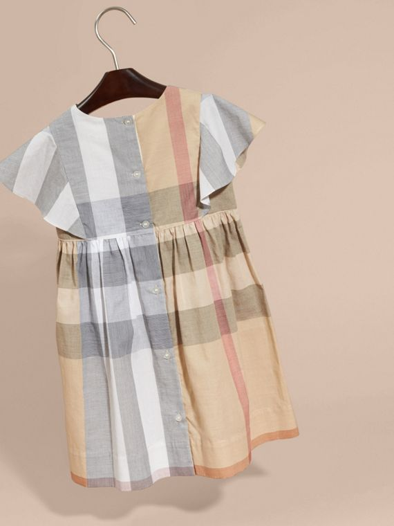 Ruffle Detail Check Cotton Dress in Pale Stone - Girl | Burberry Australia - cell image 3