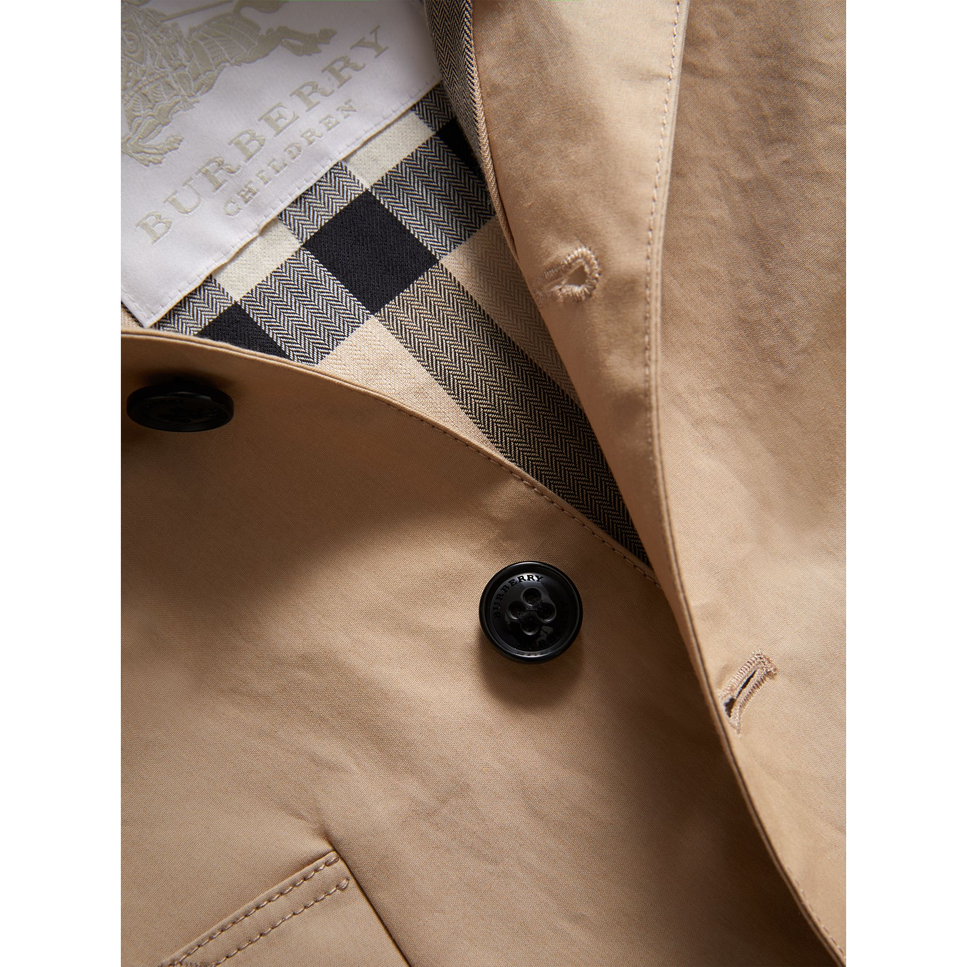 Detachable Hood Mercerised Cotton Trench Coat in Honey | Burberry - gallery image 1