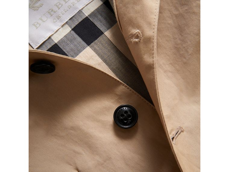 Detachable Hood Mercerised Cotton Trench Coat in Honey | Burberry United States - cell image 1