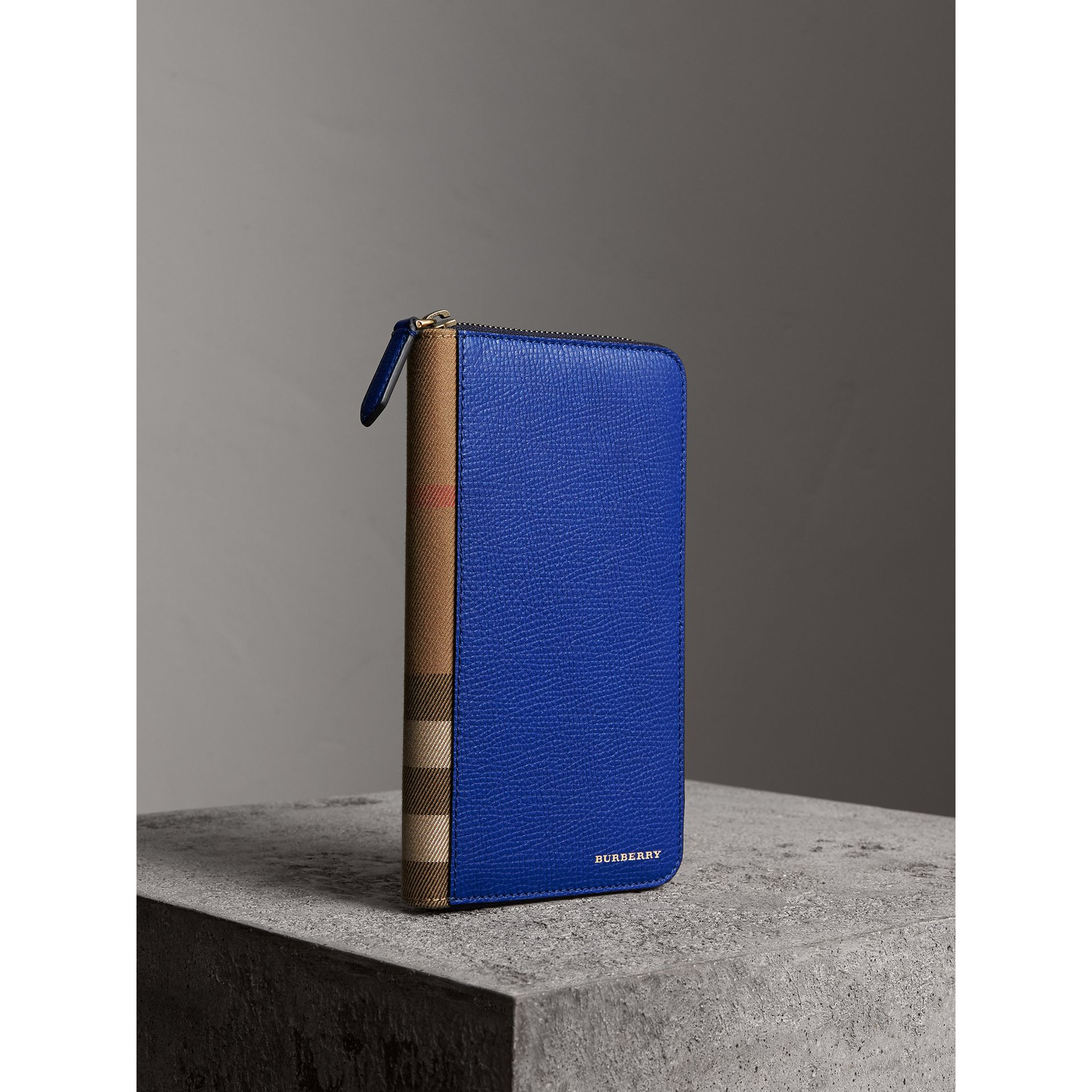 House Check and Grainy Leather Ziparound Wallet in Deep Blue | Burberry - gallery image 0