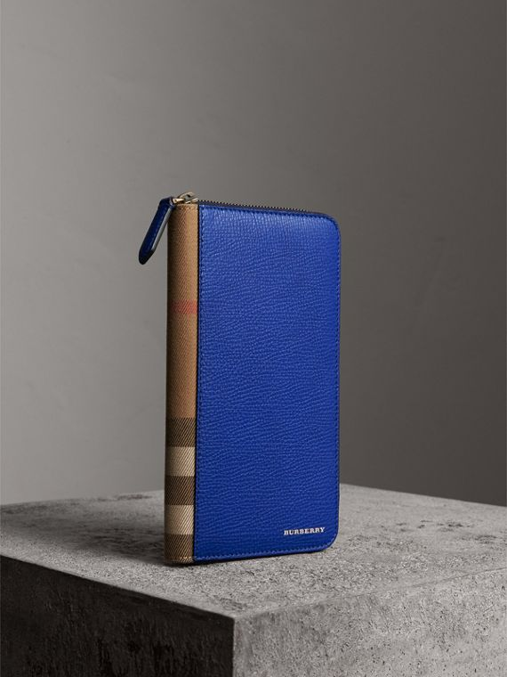 House Check and Grainy Leather Ziparound Wallet in Deep Blue