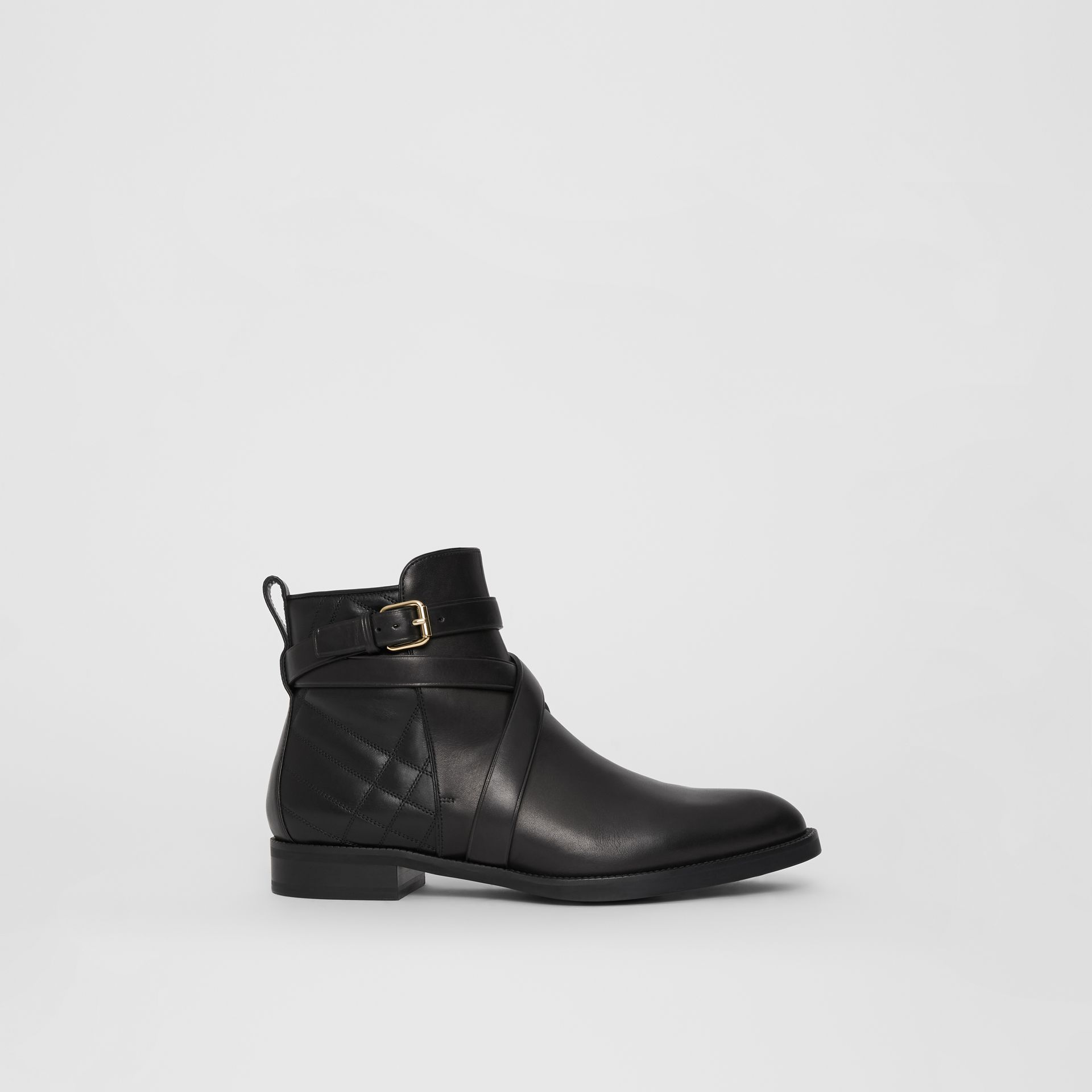 Strap Detail Quilted Leather Ankle Boots in Black - Women | Burberry United Kingdom - gallery image 5