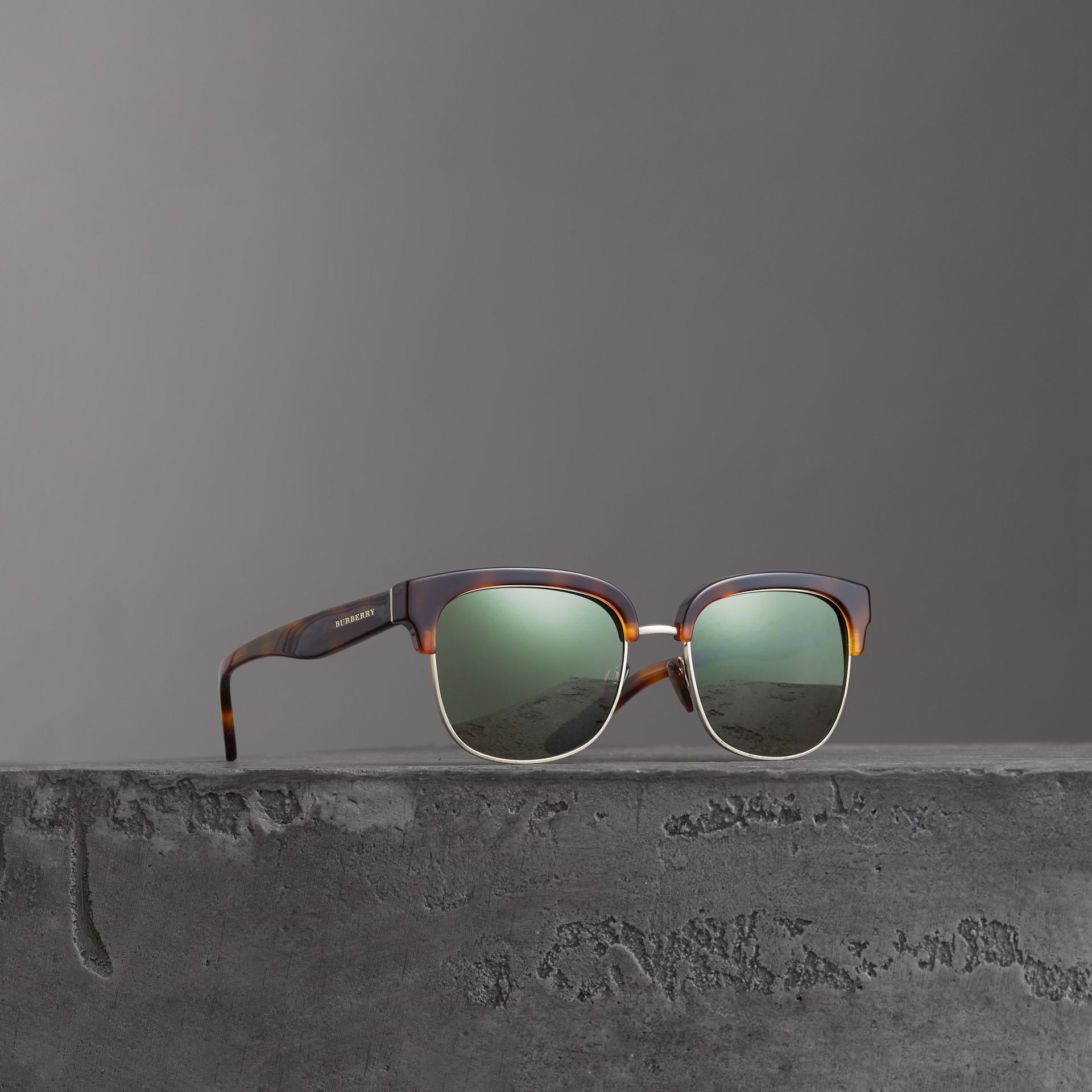 D-frame Sunglasses in Tortoise Shell - Men | Burberry United Kingdom - gallery image 0