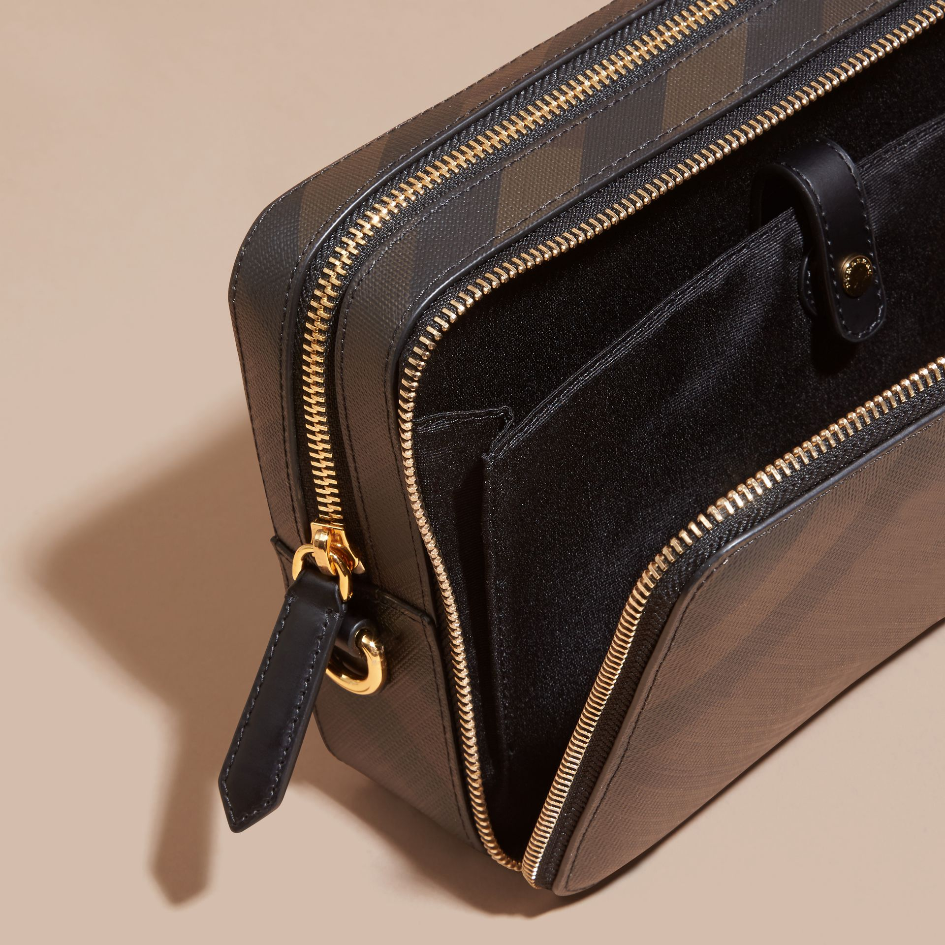 Leather-trimmed London Check Pouch in Chocolate/black - Men | Burberry - gallery image 4