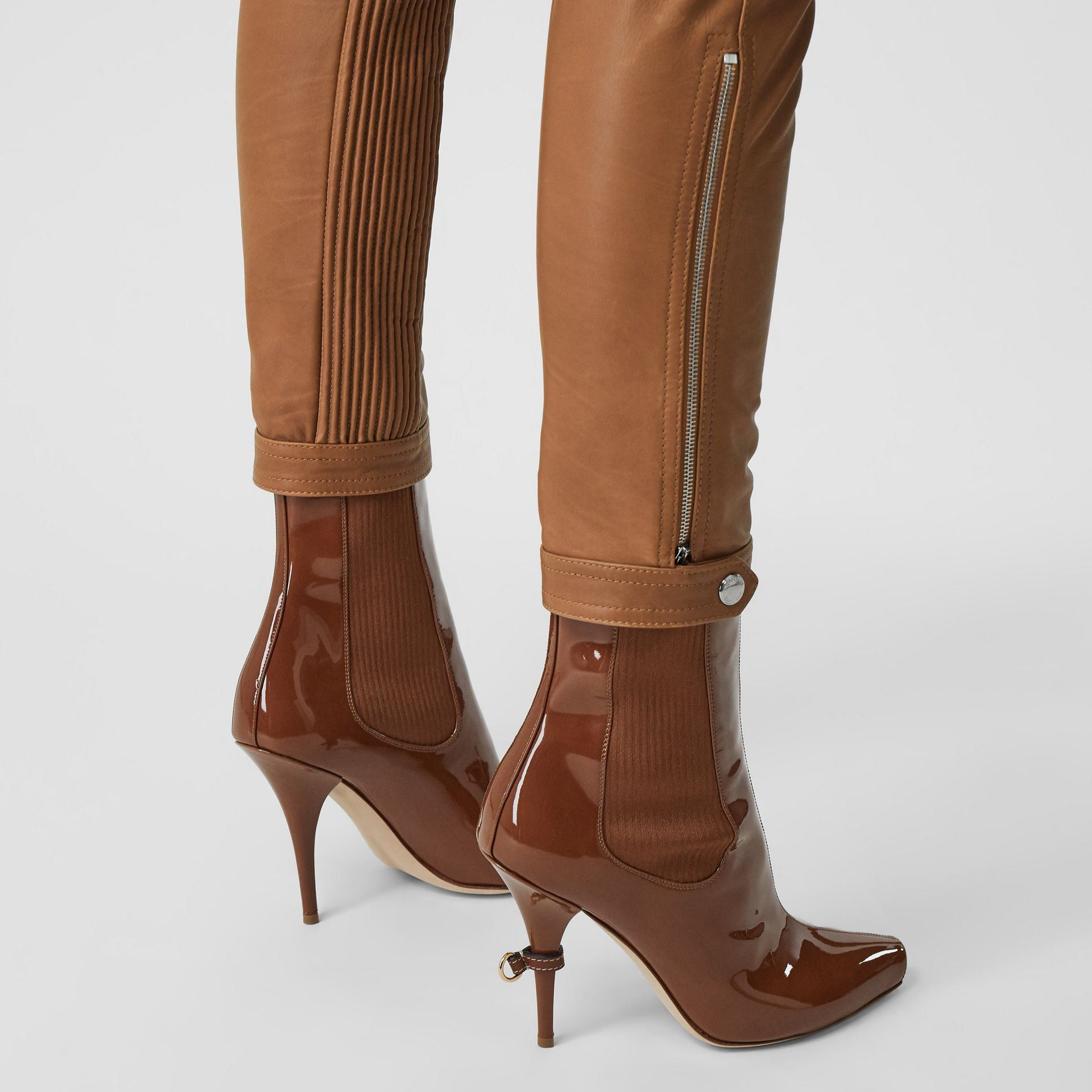 Biker Leather Trousers in Brown - Women | Burberry - gallery image 4