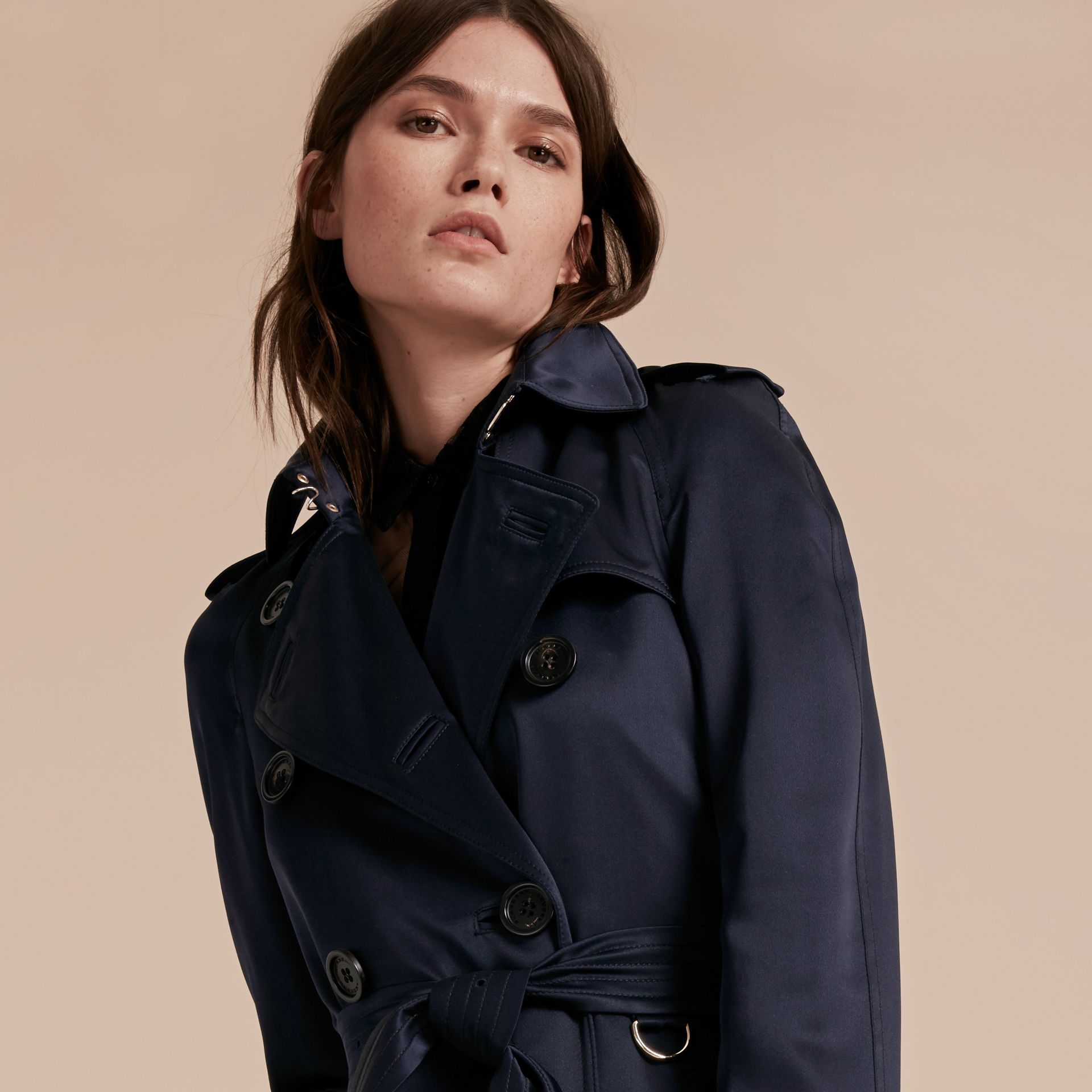 Navy Silk Trench Coat - gallery image 5