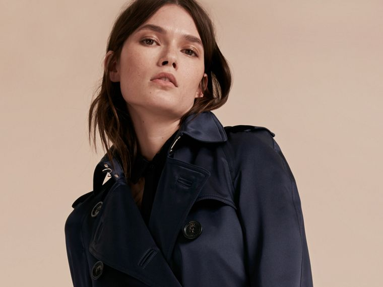 Navy Silk Trench Coat - cell image 4