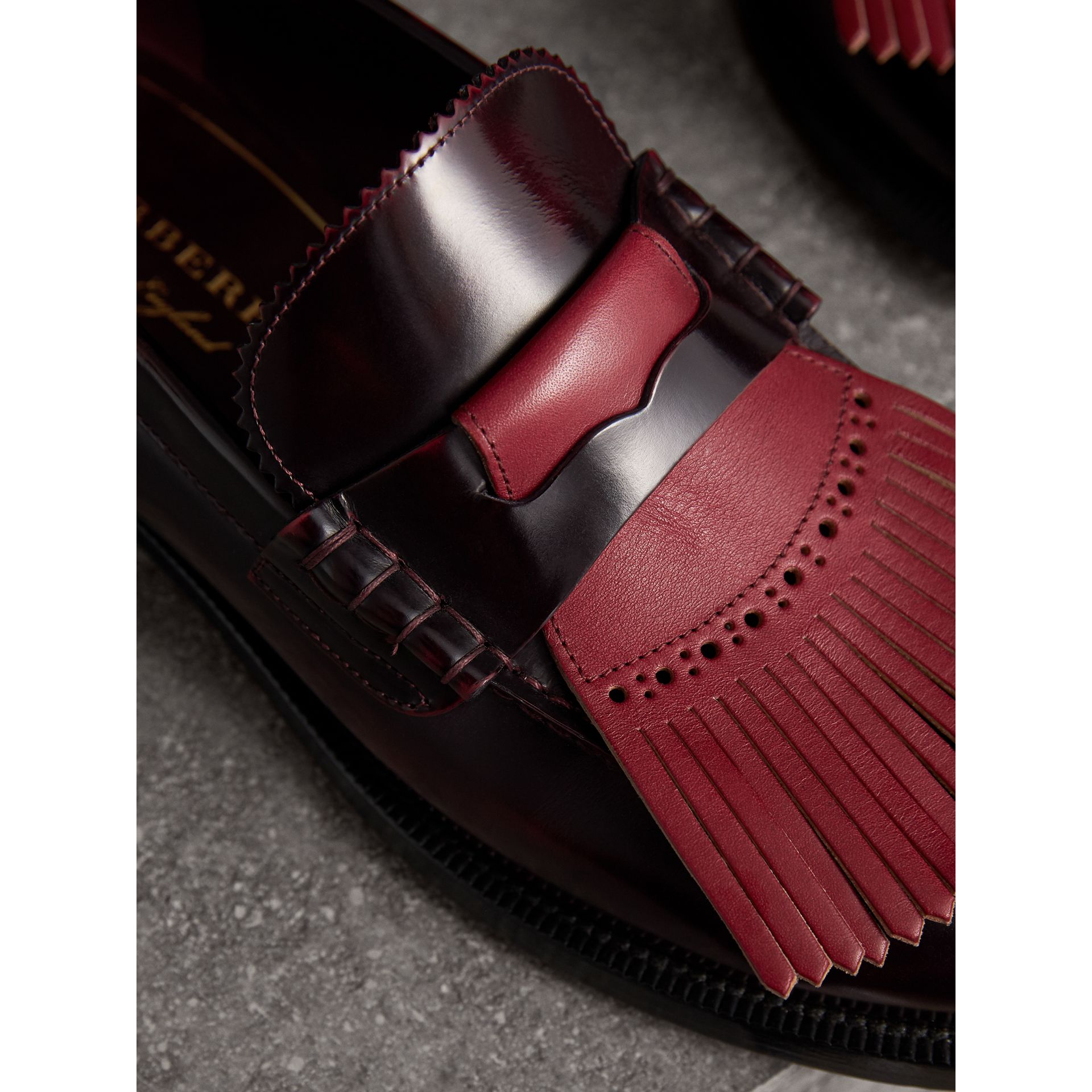 Contrast Kiltie Fringe Leather Loafers in Rust Red/red Claret - Men | Burberry United Kingdom - gallery image 1