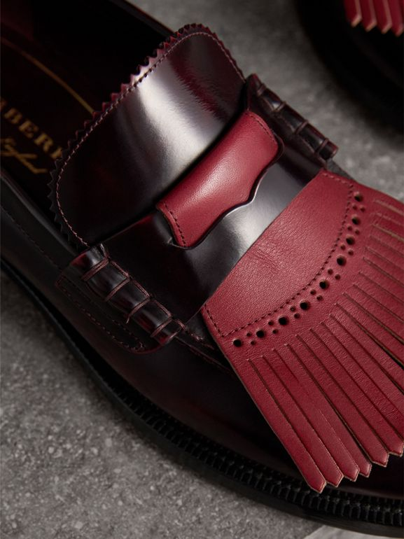 Contrast Kiltie Fringe Leather Loafers in Rust Red/red Claret - Men | Burberry - cell image 1