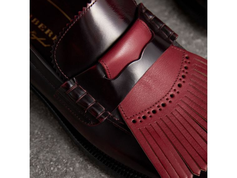 Contrast Kiltie Fringe Leather Loafers in Rust Red/red Claret - Men | Burberry United Kingdom - cell image 1